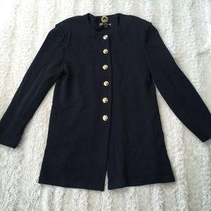 St.John Sz L Basics Black sweater w/gold buttons